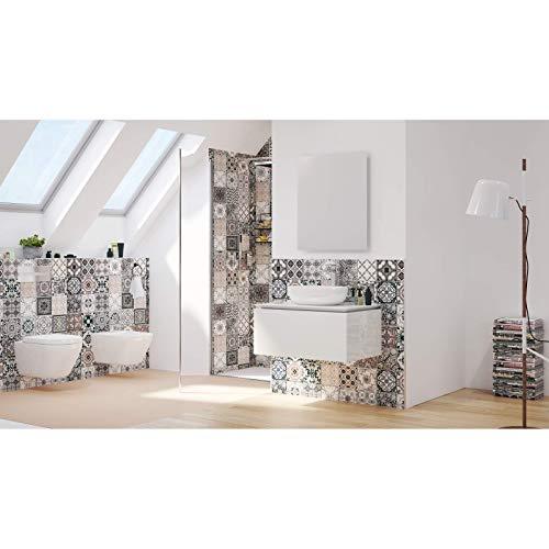 Placa decorativa sin azulejos y sin juntas, estilo vintage, 148 x 210 x 3 mm, para pared posterior de ducha, de aluminio, para cuarto de baño, diseño oriental Barcelona, España, Portugal