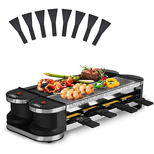 Artestia Electric Dual Raclette Party Grill with Cast Aluminium Reversible Grill Plate and High Density Granite Grill Stone, Serve 8 Persons