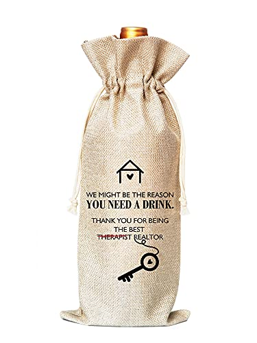 Client Gift Ideas For Realtors, Housewarming or as a Closing Gift From a Realtor, Wine Bag Gift for Realtors-Cotton linen Drawstring Wine Bags(1 Pack)