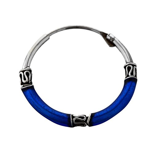 NKlaus Silver Single Deep Blue Creoles Lusia 20mm 925 Sterling Silver 6470