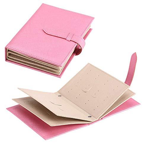 Niñas Joyero Pendientes de almacenaje de la joyería pendiente del soporte organizador de la caja del soporte de exhibición de joyería portátil en forma de bolsa plegable libro de piel for Creative-ros