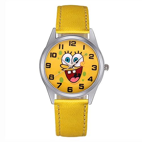 HGJINFANF Niños Reloj de Dibujos Animados Estudiantes para Mujer Chicos Chicas Chicos Cuarzo Cuero Silicone Correa Relojes de Pulsera (Color : Leather Yellow)
