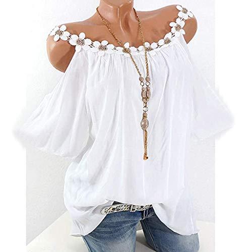 Writtian Blusa para mujer, camiseta de tallas grandes para mujer, verano, elegante, sexy, sin tirantes, con plumas, impresión de manga corta