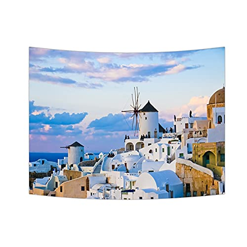 Tapiz de mar azul tapiz de belleza paisaje mar Egeo colgante de pared arte tapiz dormitorio decoración tela de fondo A1 180x200cm