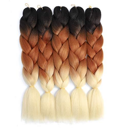 Ombre Braiding Hair Kanekalon Braiding Hair Extensions 5pcs Black-Brown-Blonde Three Tone Color High Temperature Synthetic Braiding Hair