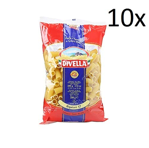 10x Pasta Divella 100% Italienisch N°17 Rigatoni 500g