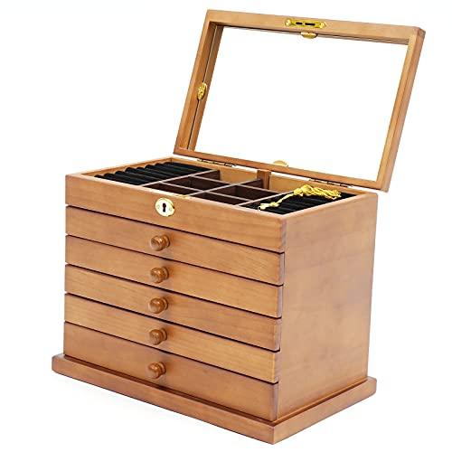 Joyero de madera de 6 niveles, con espejo y cerradura para joyas, anillos, collares y relojes