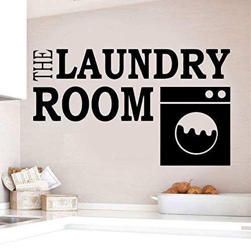 Dwzfme Adhesivo de Pared Calcomanías de Pared para lavandería Etiqueta de Vinilo para lavandería Logotipo de Pared extraíble Estilo de Cita Murales Decoración de Pared de Vinilo 97x57cm
