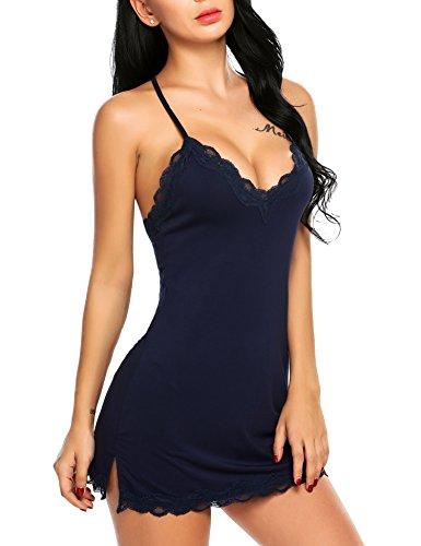 Avidlove Full Slip Night Gown Soft Sleepwear V-Neck Chemise Navy Blue S
