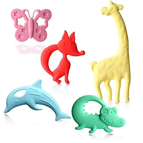 Beißring Zahnungshilfe für Baby, Beissring für Kleinkind zum Kühlend zahnen Spielzeug aus Hochwertigem Silikon BPA-Frei Kühlbeißring für Säugling Jungen Mädchen 3M+ (5 Stück)
