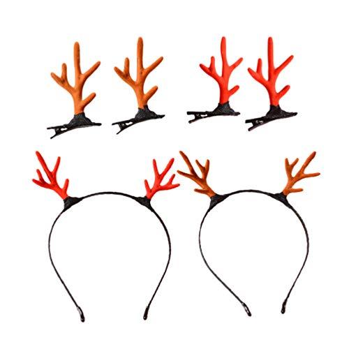 TOYANDONA 6 piezas diadema de asta de reno pinzas de pelo de asta de ciervo de navidad tocado de mujer decoración de fiesta de navidad disfraz de cosplay