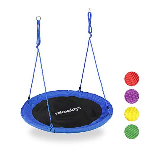 Relaxdays Nestschaukel, Outdoor Schaukel für Kinder & Erwachsene, Ø 110 cm, bis 100 kg, rund, Tellerschaukel, blau