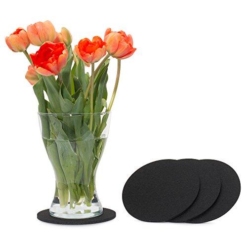 FILU Filzuntersetzer rund 15cm 4er Pack (Farbe wählbar) schwarz - Untersetzer aus Filz für Tisch und Bar als Glasuntersetzer/Getränkeuntersetzer für Glas und Gläser