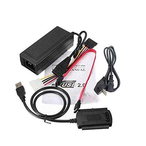 BianchiPatricia USB 2.0 to IDE SATA 2.5 3.5 Hard Drive Converter Cable Kit with Power Supply