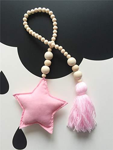 AOVITY Wood Bead Garland Wall Hanging Star tassel Hemp Rope Beaded Garland Decor Beads Handmade for Children's Baby Room Home Decoration Photography (Pink)