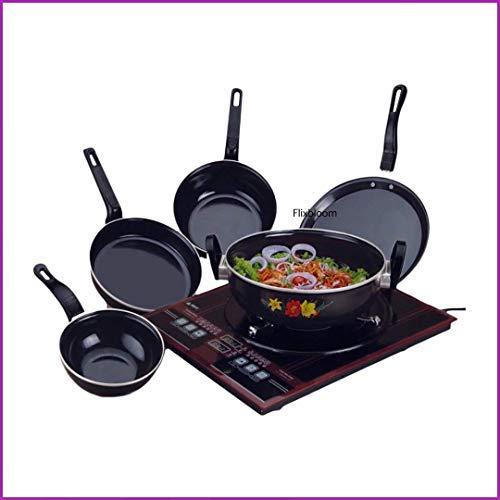 FLIXBLOOM Perfect Combo Collection Set of 5 Pcs Induction Base Cookware Sets Black (Kadai, Tawa, Milk Pan, Sauce Pan, Fry Pan
