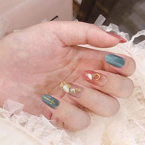 DKHF Valse nagels 24 stuks afneembare neppers op spijker roze en blauwe kleurverloop nep nagelfolie kunstnagels met