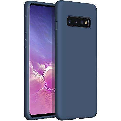 YATWIN Compatibile con Samsung Galaxy S10 Plus Cover 6,4'', Cover per Samsung Galaxy S10 Plus Silicone Liquido, Protezione Completa del Corpo con Fodera in Microfibra, Blu Notte