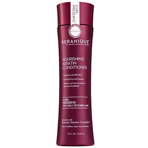 Keranique Curl Preserve Conditioner per capelli ricci, capelli testurizzati - Complesso di aminoacidi cheratinici, senza solfati, senza parabeni, senza coloranti, 8 fl oz. (1 confezione)