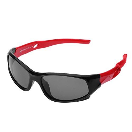 Occhiali da Sole Specchio Polarizzata per Bambini(5-12 Anni), Forepin Protezione UV 400 Sunglasses Flessibile Telaio Gommato Ragazzi e Ragazze Lente a Specchio Bambino - Rosso