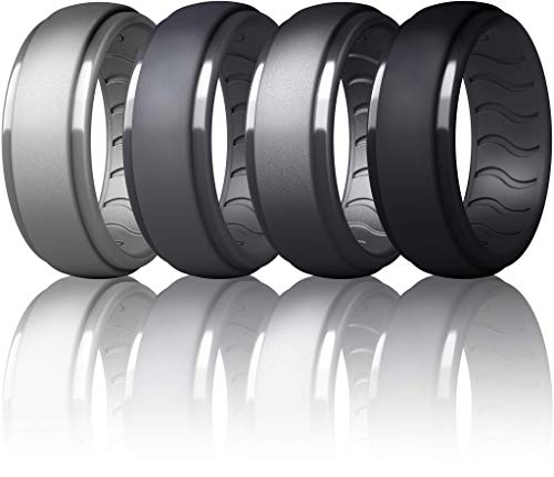 Diameter 0.84 inch?Circumference 2.63 inch 8 Rings,Breathable Mens Rubber Wedding Bands Size 12 Elimoons Silicone Wedding Ring for Men