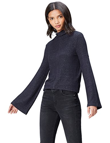 Marca Amazon - find. Jersey de Manga Ancha para Mujer, Azul (Navy Marl), 36, Label: XS