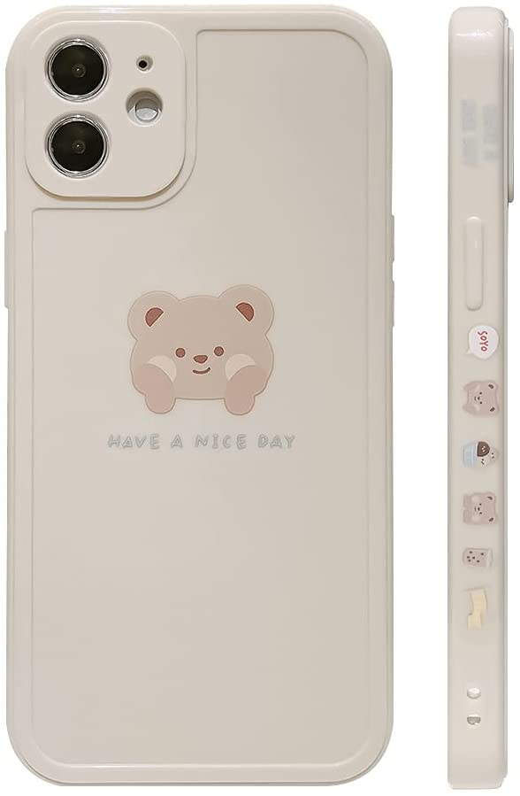 Ownest Compatible with iPhone 12 Case Cute Painted Design Brown Bear with Cheeks for Women Girls Fashion Slim Soft Flexible TPU Rubber for iPhone 12-Beige