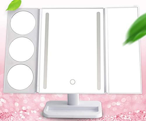 WOCTP Schminkspiegel Beleuchtete Vergrößerung Mit 5x7-facher Vergrößerung Dimmbarer Touchscreen Beleuchteter Dreifach Gefalteter Kosmetikspiegel