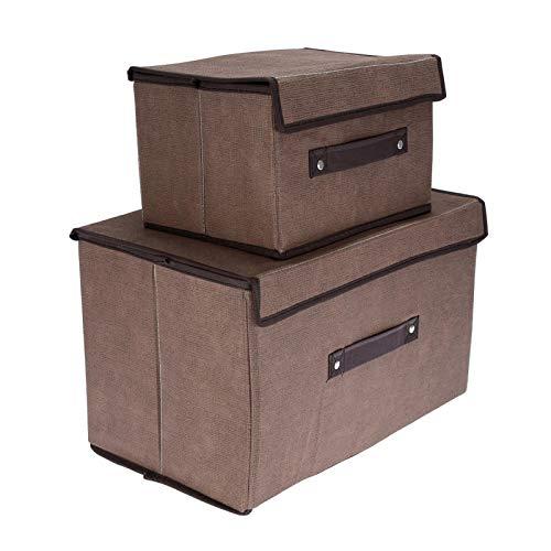 Emoshayoga 2 unids/Set Caja de Almacenamiento de Ropa Caja de Almacenamiento de Ropa Plegable Duradera Libros para Ropa decoración del hogar(Coffee)