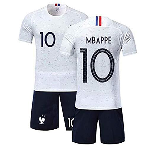 Conjunto de ropa deportiva para niño, camiseta y pantalón corto, diseño de la Copa del Mundo de Francia con 2 estrellas de fútbol blanco 38 W/34 L