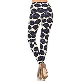 R659-PLUS Lily Pads Print Fashion Leggings