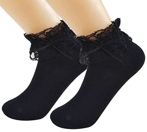2 paar SYAYA vrouwen kant ruche franje enkel sokken met strik WWZ02