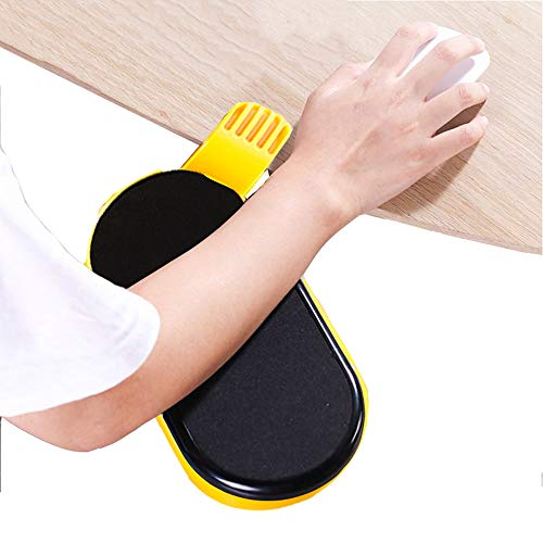 FUZADEL Ergonomic Mouse Tray with Clamp for Desk Clip Mouse Platform Clamp On Swivel Tray (Yellow)