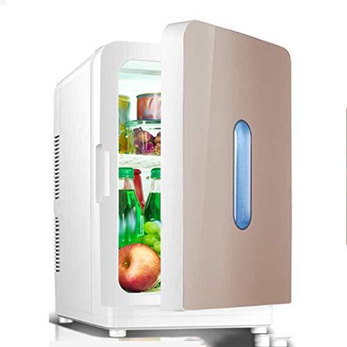 XUHRA 20L Mini refrigerador, Invernadero refrigerador pequeño Coche y energía fría de Doble Uso bajo Nivel de Ruido de Silencio Ahorrar para la estética de Mama,Gold