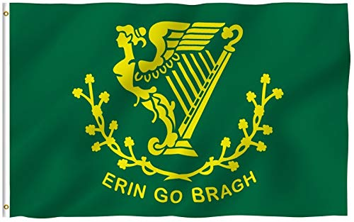 Anley Fly Breeze 3x5 Foot Erin Go Bragh Flag - Vivid Color and UV Fade Resistant - Canvas Header and Double Stitched - Ireland Forever Flags Polyester with Brass Grommets 3 X 5 Ft