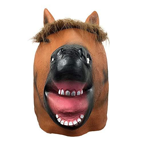 YHX Lindo Sombrero de mscara de Cabeza de Caballo Sonriente, Sombrero de Animal Divertido para Fiesta de Disfraces, Accesorios de Rendimiento de Fiesta de Halloween