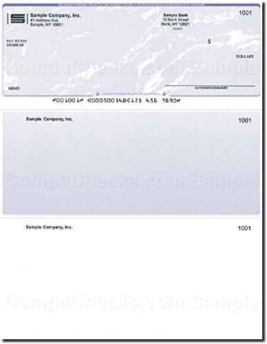 Computer Checks on Top - 300 Printed Checks - Compatible for QuickBooks - Blue Marble