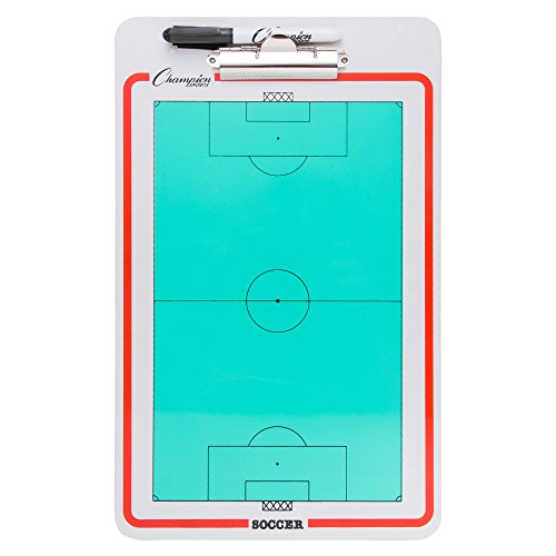 Champion Sports Large Dry Erase Board for Coaching Soccer - Whiteboards for Strategizing, Techniques, Plays - 2-Sided Boards with Clip - Front Side Full Field - Backside Half Field Close-up