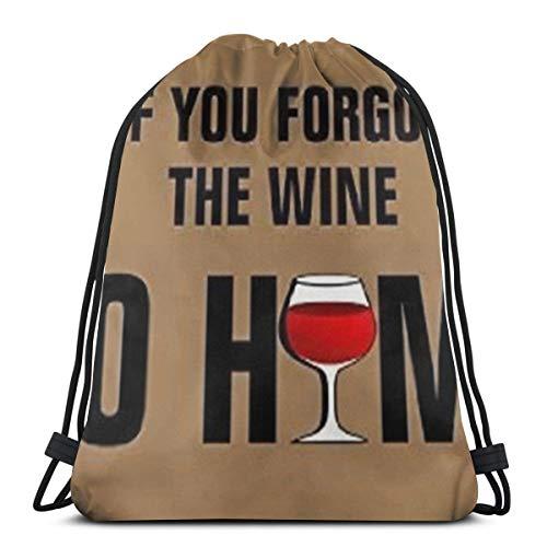 """Mochila con cordón para niños y niñas con texto en inglés """"If You Forget Wine, Go Home"""", bolsa de regalo para el gimnasio, para la escuela y la fiesta, 14.2 x 16.9 pulgadas"""