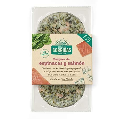 OBRADOR SORRIBAS Hamburguesa de Espinacas y Salmon, Bio, Multicolor, 60 Gramos