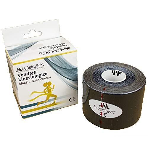 Mobiclinic, Bande kinésiologie, Marque européenne, Kinesio Tape, Bande Taping, Rouleau de 5 cm x 5 m, Noir