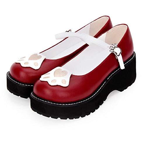 LIGEIAOGIAO Niñas Niñas Lolita Cosplay Tacones Altos Zapatos de Mujer 5cm 33-47-vino Tinto_3