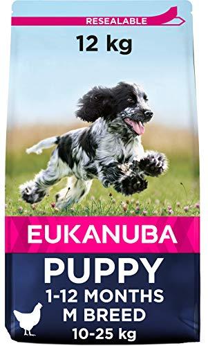Eukanuba Growing Puppy - Cibo Secco per Cani Cuccioli di Taglia Media (primi 12 Mesi di Vita), Crocchette al Pollo, 12 Kg
