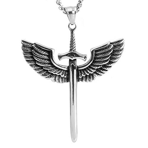 COPAUL Schmuck Edelstahl Gotik Retro Flügel Schwert Kruzifix Kreuz Herren-Anhänger mit 60CM Halskette,Schwarz Silber