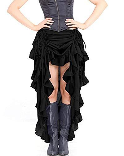 hellomiko Steampunk Gothique Victorien pour Femmes Vintage Pirate Jupe À Volants Cordon Jupe Cosplay Déguisement