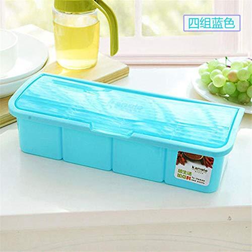 Boner Kruiden Container Keuken Opslag Kruidenpot Eenvoudige Deksel Kruiden DoosKeuken Gereedschap Zout Suiker Kruiderij Cruet opbergdoos, blauw 4 cellen