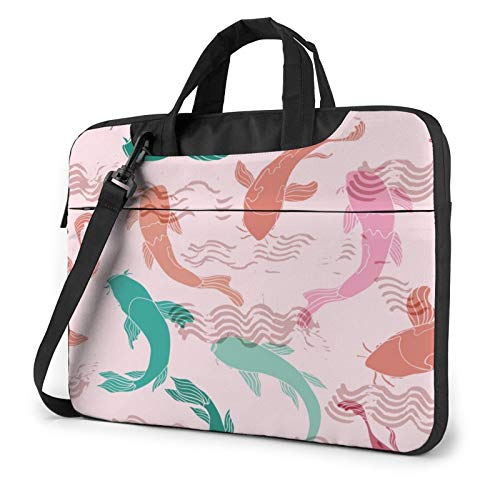 Colorful Koi Fish Laptop Shoulder Messenger Bag,Laptop Shoulder Bag Carrying Case with Handle Laptop Case Laptop Briefcase 13 Inch Fits 13 inch Netbook/Laptop