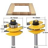 Accesorios para trabajar la madera 3PC 8mm caña Raised Panel Router gabinete de la puerta Bit Set - 3 Bit Ogee de la madera del cortador de la carpintería Router Bits ( Cutting Edge Length : 2PCS )