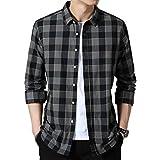 シャツ メンズ カジュアル 綿 長袖 オックスフォードシャツ レギュラーフィット オックスフォードシャツ ワイシャツ メンズシャツ メンズ チェックシャツ オシャレ 黑 XL
