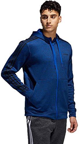 adidas Mens Tech Full Zip Fleece Hoodie Performance Hooded Track Jacket (Royal Blue/Black, X-Large)